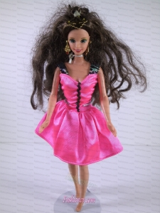 Lovely Handmade Pink Dress With Knee-length Dress for Noble Barbie
