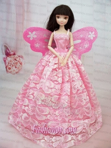 Lovely Handmade Pink Lace To Barbie Doll Dress