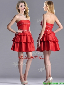 New Arrivals Red Strapless Prom Dress with Ruffled Layers and Beading