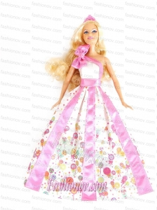 New Beautiful Printing Party Clothes Fashion Dress for Noble Barbie