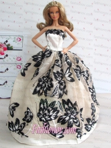 Sweet Gown With Amazing Champagne Lace Wedding Dress For Barbie Doll