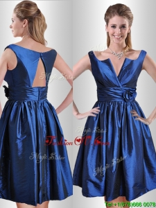 Unique Open Back Hand Crafted Flower Prom Dress in Royal Blue