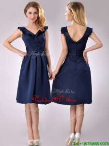 2016 Beautiful V Neck Navy Blue Empire Prom Dress with Cap Sleeves