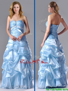 2016 Column Sweetheart Long Light Blue Beaded Ruched Prom Dress in Organza