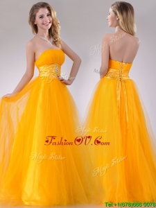 2016 Elegant A Line Beaded Tulle Gold Prom Dress with Lace Up