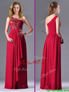 2016 Fashionable Empire One Shoulder Sequins Red Prom Dress with Side Zipper