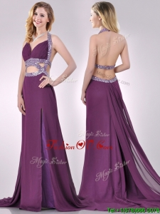 2016 Gorgeous Cut Out Waist Halter Top Prom Dress with Brush Train
