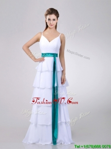 2016 Lovely White Prom Dress with Ruffled Layers and Turquoise Belt