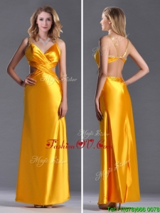 2016 Luxurious Beaded Decorated Straps Criss Cross Prom Dress in Gold
