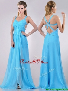 2016 Luxurious Straps Criss Cross Beaded Long Prom Dress in Baby Blue