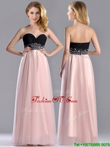 2016 Modern Empire Beaded and Ruched Prom Dress in Baby Pink and Black