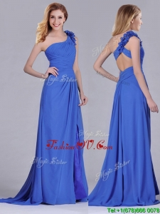 2016 Modest Beaded and Applique Criss Cross Prom Dress with Brush Train