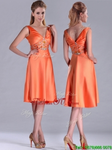 2016 New Arrivals V Neck Beaded Short Prom Dress in Orange Red