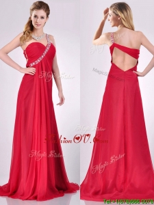 2016 New Beaded Decorated One Shoulder Red Prom Dress with Brush Train