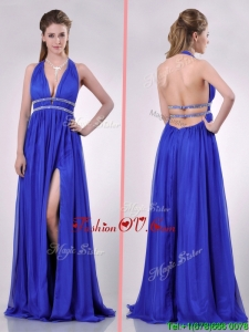 2016 New Halter Top Blue Backless Prom Dress with Beading and High Slit