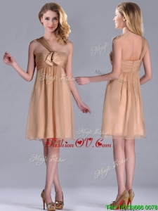 2016 New Style One Shoulder Chiffon Short Prom Dress in Champagne