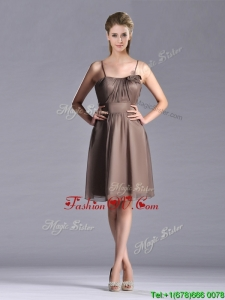 2016 Popular Chiffon Brown Short Prom Dress with Spaghetti Straps