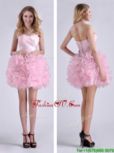 2016 Sweet Ball Gown Ruched Baby Pink Short Prom Dress in Rolling Flowers