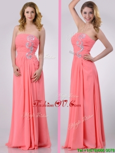 2016 Watermelon Empire Strapless Chiffon Beading Long Prom Dress for Graduation