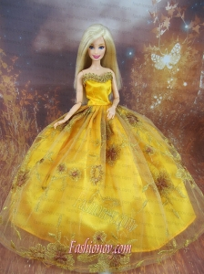 Beading Decorate Ball Gown Gold Barbie Doll Dress