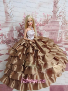 Elegant Ball Gown Ruffles Layers Brown Barbie Doll Dress