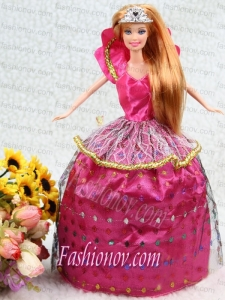 Elegant Hot Pink Taffeta Ball Gown Party Clothes Embroidery Dress For Nobel Barbie