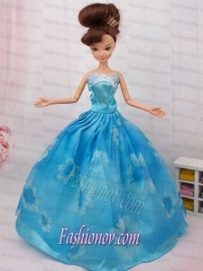 Elegant Printing Ball Gown Party Clothes Barbie Doll Dress