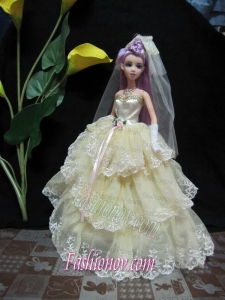Embroidery Decorate Ball Gown Light Yellow Barbie Doll Dress