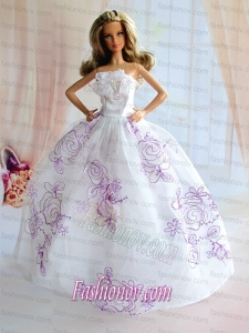 Embroidery Decorate White Taffeta Ball Gown Barbie Doll Dress