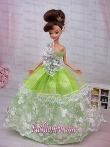 Exclusive Embroidery Ball Gown Organza Dress For Nobel Barbie