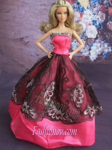 Fashionable Embroidery Ball Gown Hot Pink and Black Barbie Doll Dress