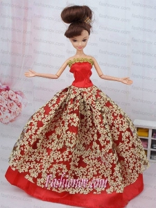 Fashionable Red Ball Gown Barbie Doll Dress