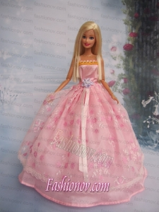Hand Made Flower Lace Pink Ball Gown Barbie Doll Dress