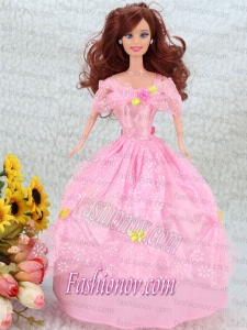 Hand Made Flower Pink Ball Gown Party Clothes Barbie Doll Dress