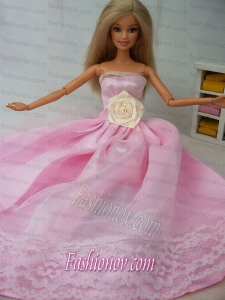 Hand Made Flower Tulle and Taffeta Party Dress Pink Barbie Doll Dress