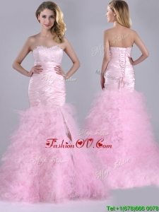 Luxurious Ruffled Taffeta and Tulle Prom Dress with Beading and Sequins