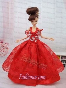 New Beautiful Ball Gown Red Lace Handmade Party Clothes Fashion Dress for Noble Barbie