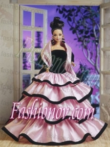 New Fashion Princess Handmade Baby Pink Strapless Party Clothes Fashion Dress for Noble Barbie