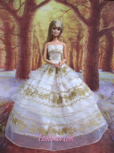 Perfect Wedding Clothes Embroidery Ball Gown Gown For Barbie Doll