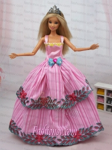 Popular Colorful Dress With Appliques and Bowknot Party Clothes Fashion Dress for Noble Barbie