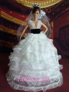 So Beautiful Princess Handmade White V-neck Wedding Dress For Barbie Doll
