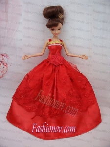 The Most Amazing Red Dress With Sash and Lace Wedding Dress For Barbie Doll