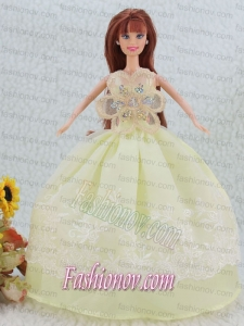 The Most Beautiful Beading and Embroidery Yellow Green Ball Gown Party Clothes Barbie Doll Dress