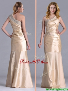 2016 New Column Beaded Decorated One Shoulder Prom Dress in Champagne