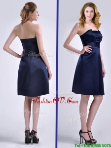 Luxurious Strapless Zipper Up Ruched Prom Dress in Navy Blue