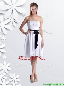 2016 Elegant Empire Strapless Ruched and Be-ribboned White Bridesmaid Dresses Dress in Chiffon