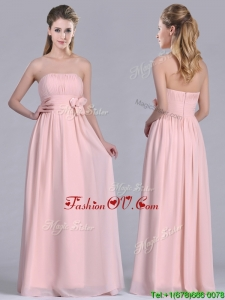 2016 Modern Chiffon Handcrafted Flowers Long Bridesmaid Dress in Baby Pink