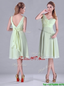 2016 Tea Length Ruched and Belted Bridesmaid Dress in Yellow Green
