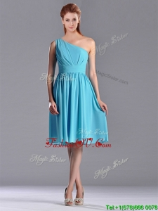 Discount Chiffon Baby Blue Knee Length Bridesmaid Dress with One Shoulder