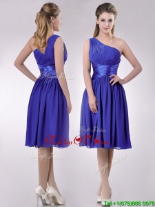 Elegant One Shoulder Chiffon Blue Bridesmaid Dress with Side Zipper